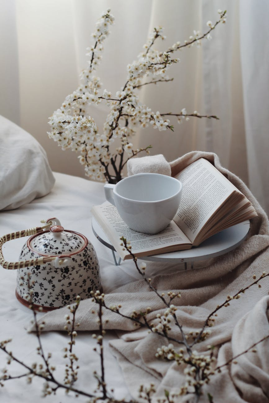 elegant composition of teapot and cup placed on bed with book